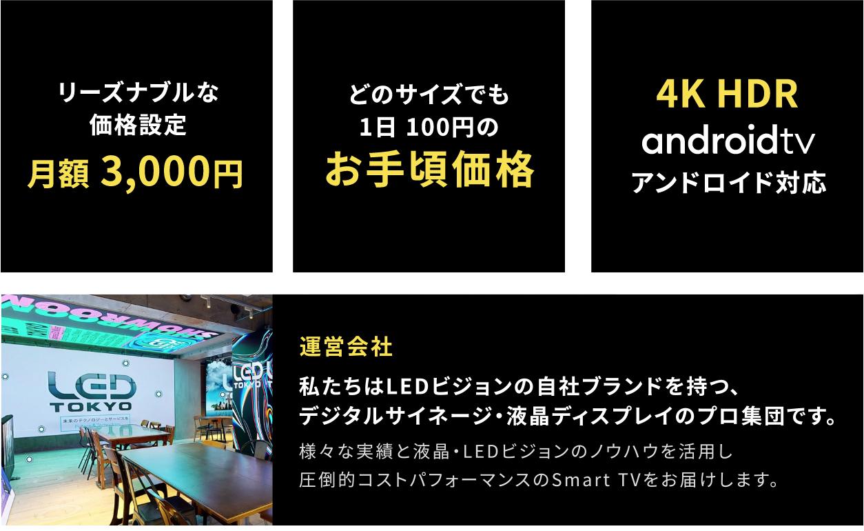 月額定額で4K HDRの大画面・高画質テレビ「Smart TV」ご利用いただけます。