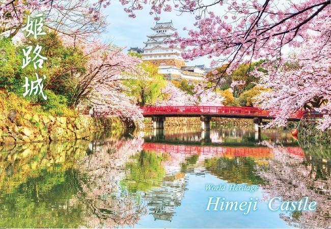 ポストカード(非売品)桜の可憐さと白漆喰の白鷺城※のコントラストが際立つ一枚。 ※姫路城の別称