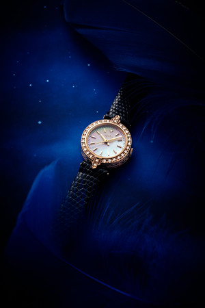 watch 120,000yen gold plated silver, gold plated stainless, leather, mother of pearl and diamond