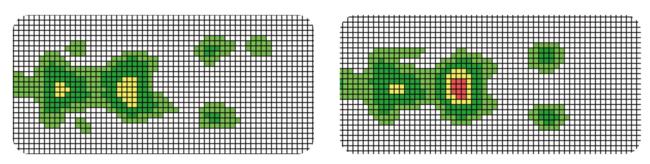 体圧分布比較 左:STARTマットレス、右:一般的なマットレス