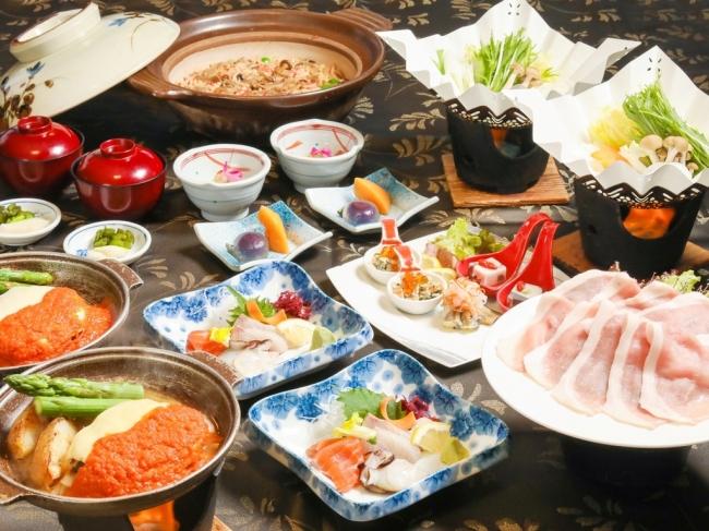 地産地消の洞爺まるごと満喫和食会席コース(一例)
