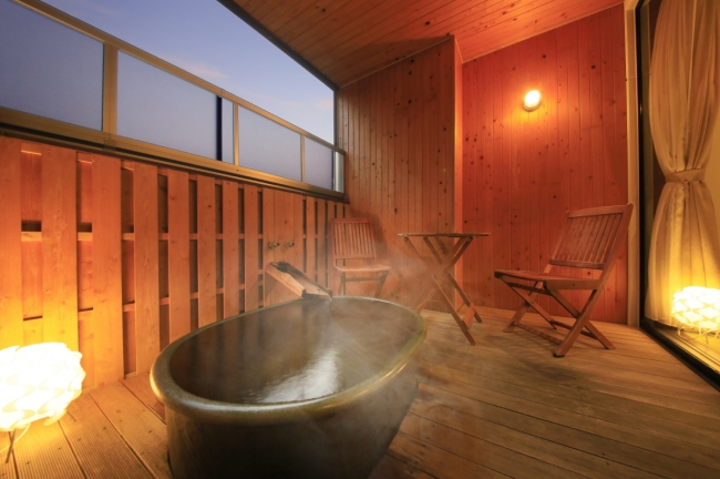 露天風呂付の客室でプライベート時間