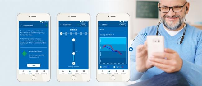 スマホ・アプリを利用したBeHear NOW聴力アシスト設定イメージ