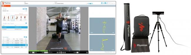 図1.(左)専用パソコンでの計測画面/(右)Physimax計測キット
