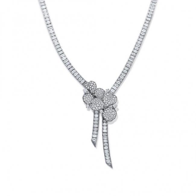 ティファニー ペーパーフラワー リボン ネックレス[プラチナ、ダイヤモンド]¥42,500,000(税別)