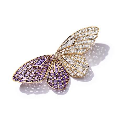 パープル サファイヤ ダイヤモンド バタフライ ブローチ