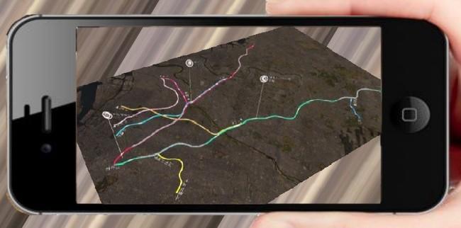 CG電車が走るAR路線図(イメージ)
