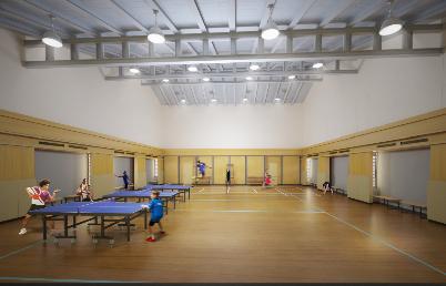 雨季でも体を動かすことができる体育館