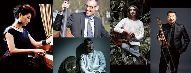 (左から)宮本貴奈(Pf)、(上:)Pat Glynn(B)、(下:)小名坂誠哉(Dr)、小沼ようすけ(G)、中川英二郎(Tb)