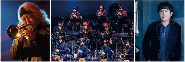 (左から)エリック・ミヤシロ(Tp)、ヤマハ・オールスタービッグバンド、佐藤竹善(Vo)