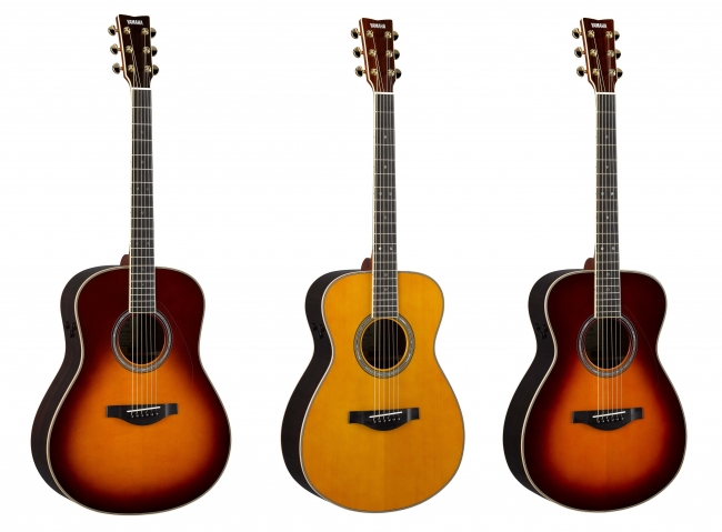 ヤマハ トランスアコースティック(TM)ギター 左から『LL-TA BS』『LS-TA VT』『LS-TA BS』 価格:各150,000円(税抜)