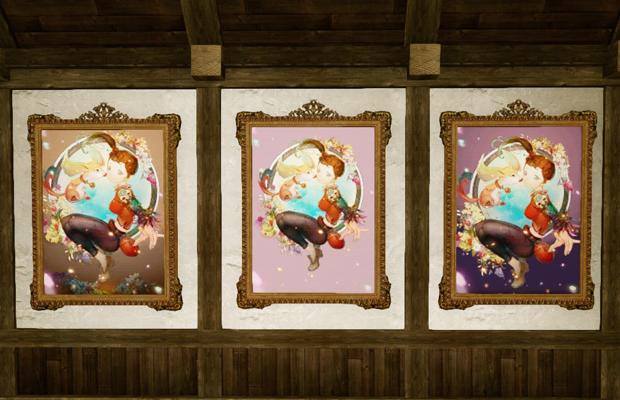 ▲「ヤタと少女」の絵画(3種類)