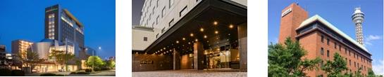(左)ホテル メルパルク仙台(中央)ホテル メルパルク東京(右)ホテル メルパルク横浜