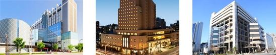 (左)ホテル メルパルク長野(中央)ホテル メルパルク名古屋(右)ホテル メルパルク大阪
