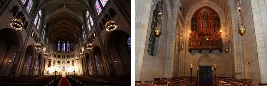 (左)リバーサイド教会 大聖堂(右)リバーサイド教会 チャペル(クライストチャペル)