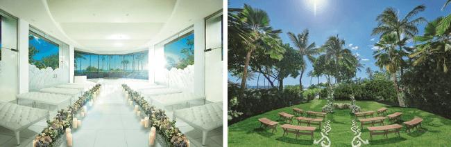左:<チャペルウェディング 挙式イメージ>、右:<ガーデンウェディング 挙式イメージ>