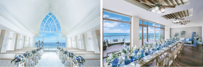 左:<Coastal Style挙式会場>、右:<Coastal Styleパーティ会場>