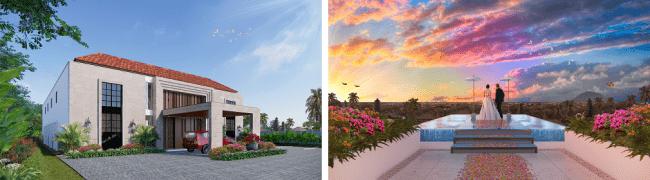 <(左)外観 イメージ/(右)ルーフトップのウォーターステージ イメージ)>