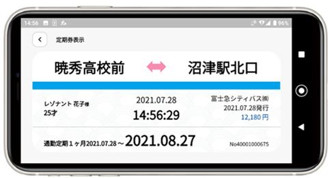定期券表示画面イメージ