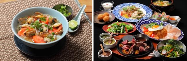 写真左:浅蜊とトマトのフォー(1090円)、右:コース料理