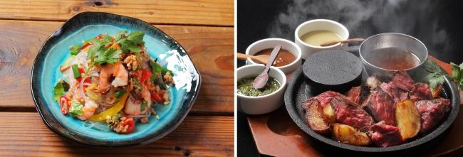 写真左:海老の春雨サラダ ヤムウンセン(750円)、右:ハラミグリルステーキ(1590円)