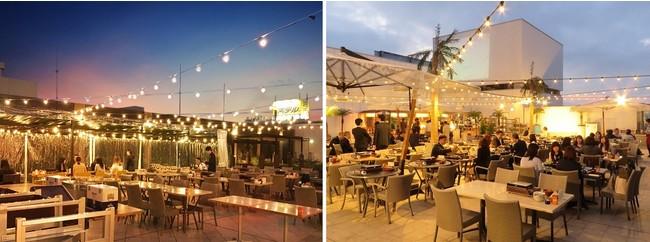 写真左:ペリエ千葉肉食べ放題BBQビアガーデン、右:仙台パルコ2肉食べ放題BBQビアガーデン