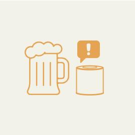 おとなは酔っぱらいすぎに注意すること。 おつまみと間違えて缶を開けてはいけません。