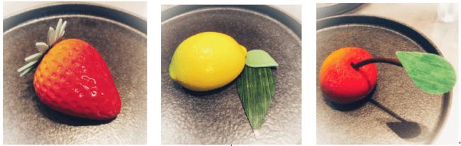 【KAJITSU】色も形も本物の果実そっくりのケーキサイズのムース(左から、ストロベリー、レモン、チェリー)