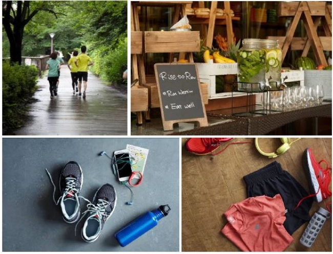 写真(左上より時計回りに):目黒川沿いのコース、モーニングラン後のリカバリーコーナー トレーニングウエアとシューズをお届けする「ギアレンディング」(イメージ)、「runWESTIN」の「ランニングマップ」(イメージ)