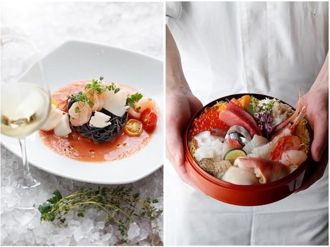 左:「イカ墨のカッペリーニ シーフードとガスパチョソース」 右:「北海道 プレミアム海鮮丼セット」