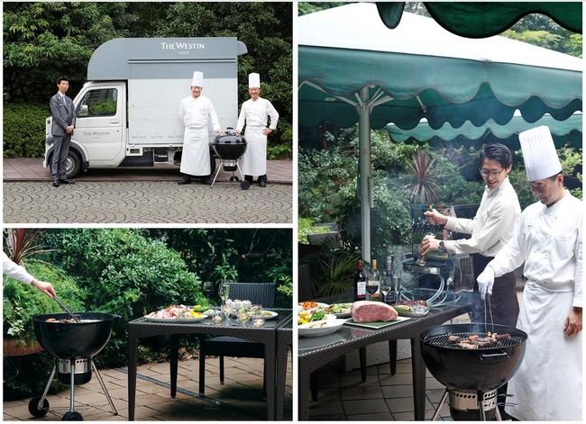 左上:ウェスティンフードトラックでお届けする「ケータリングBBQ by The Westin Food Truck」  左下:「テラスBBQプラン」イメージ 右:「ケータリングBBQ by The Westin Food Truck」イメージ
