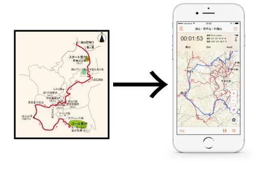 アプリの地図上にレッツハイクコースを表示し、  事前にまたは登っている最中でも、  簡単にコースを確認することができます。