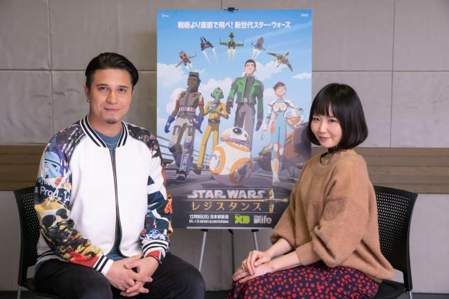 (左から)木村昴さん、佐藤美由希さん (C)& TM 2018 Lucasfilm Ltd.