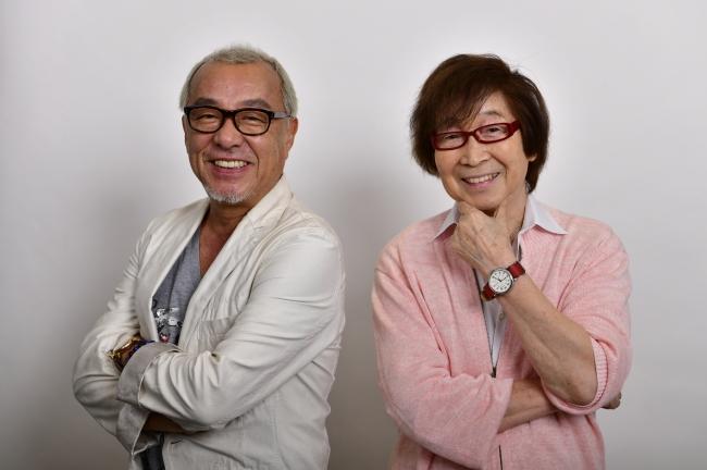 初のツーショット!中尾隆聖さん、古川登志夫さん(左から)
