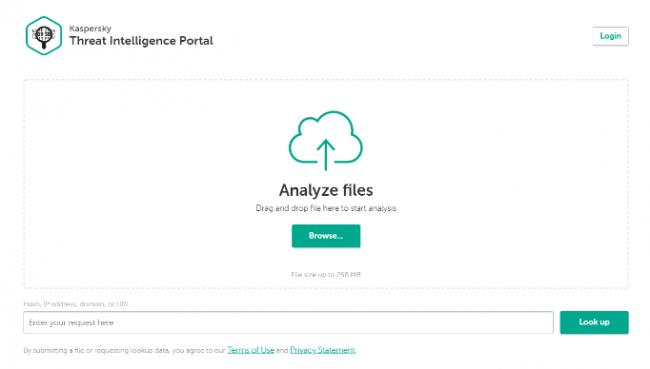 図1:Kaspersky Threat Intelligence Portalトップ画面