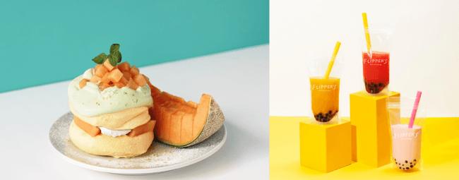 ▲ 左)奇跡のパンケーキ 夕張メロン/右・左から順に)タピオカマンゴー、タピオカスイカ、タピオカストロベリーミルク