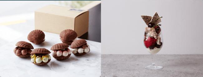 左)ショコラモワルーサンド、右)季節のフルーツとチョコレートのパフェ