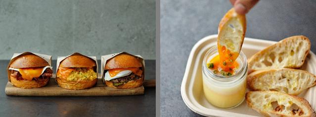 ▲左)左からベーコンチーズチーズサンド、フェアファックスサンド、チーズバーガー、 右)SLUT(スラット)
