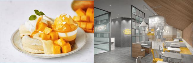 右)奇跡のパンケーキ リッチマンゴー 、左)店内イメージ