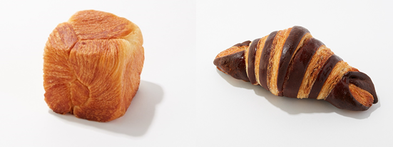 ▲左)デニッシュキューブ(プレーン)、右)マーブルクロワッサン