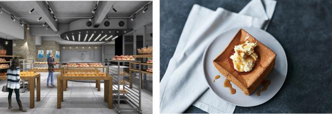 左)内観イメージ、右)「パン ド ミ シフォン」イメージ