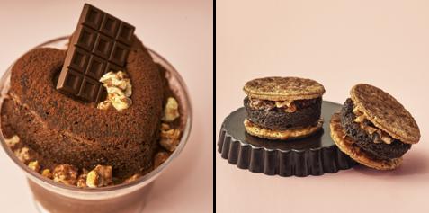 ▲左)奇跡のスフレチーズプリン キャラメルナッツショコラ 右)パンケーキパイ キャラメルナッツショコラ