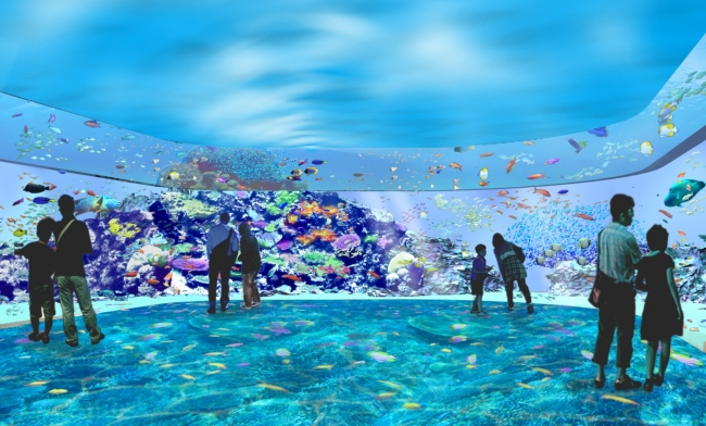 【サンゴ礁の海(仮称)】360°鮮やかなサンゴ礁の海を感じるゾーン。まるで海の中に潜ったような体験ができる。