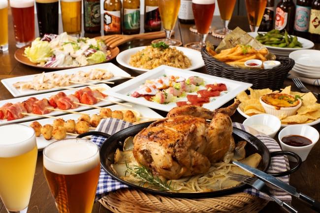 たった4,000円でクラフトビール全種が飲み放題とこの豪華な料理。さすがヒーロー太っ腹!