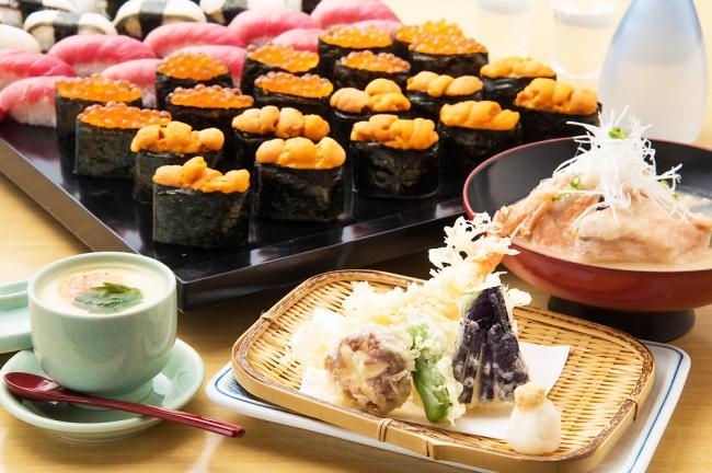 天ぷら、茶碗蒸し、大名椀つきの高級ネタの寿司食べ放題!