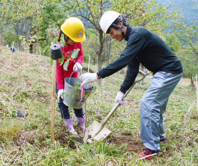 木を植える参加者