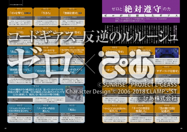 『コードギアス 反逆のルルーシュ ゼロぴあ』中面 (C)SUNRISE/PROJECT L-GEASS Character Design(C)2006-2018 CLAMP・ST