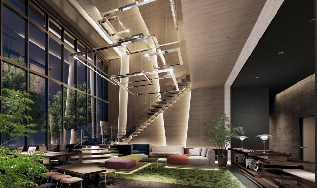 「THE HIGH HORIE」グランドラウンジ完成予想図:ラグジュアリーホテルのように優雅な共用空間
