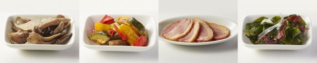 左から、きのこ、彩り野菜、鴨、海藻