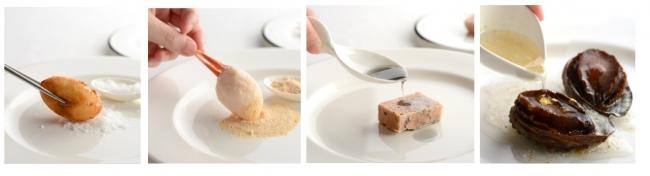 4つの調味料(香りの小袋)左から「能登の塩」「海の粉」「炭オイル」「金箔ドレッシング」